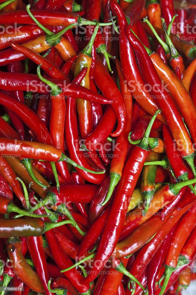 fresh chili pepper in different colors at the herb market royalty-free stock photo