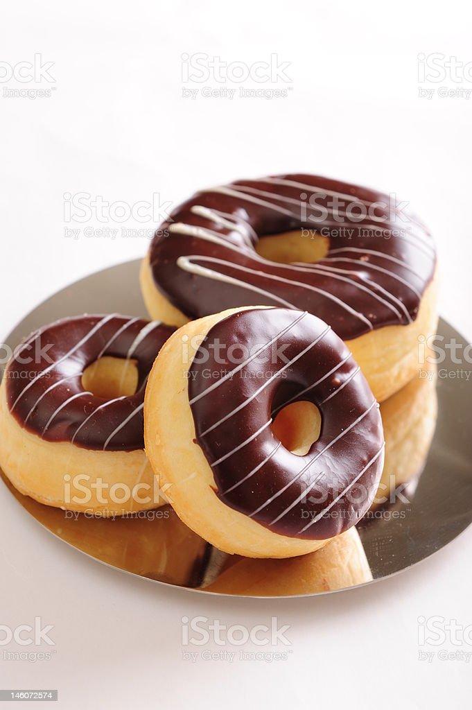 Fresh chocolate donuts royalty-free stock photo