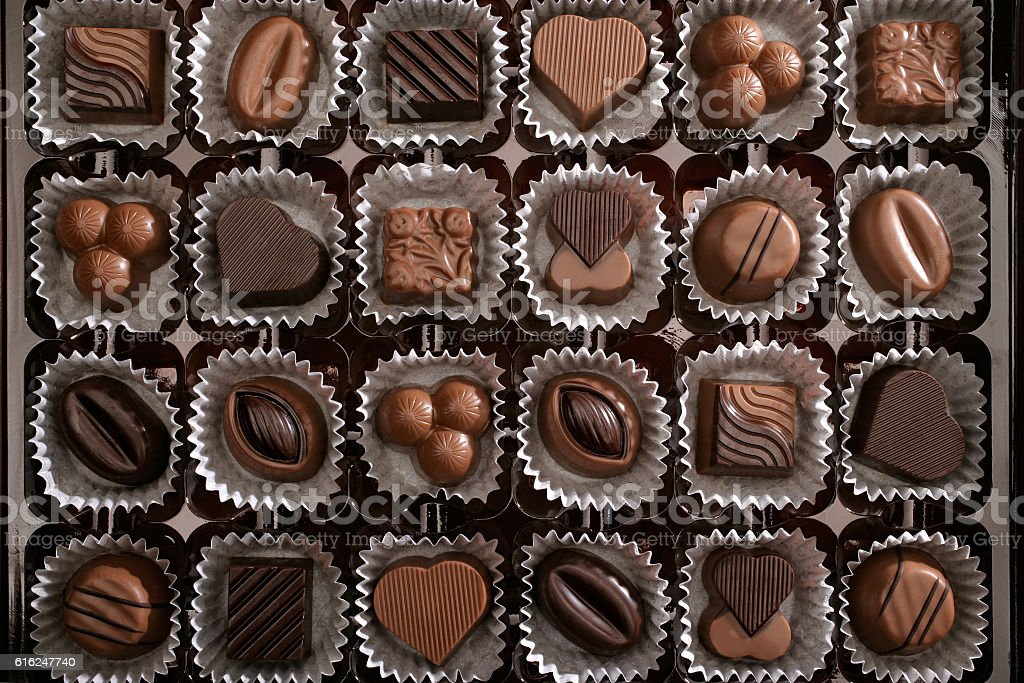 fresh chocolates in box stock photo