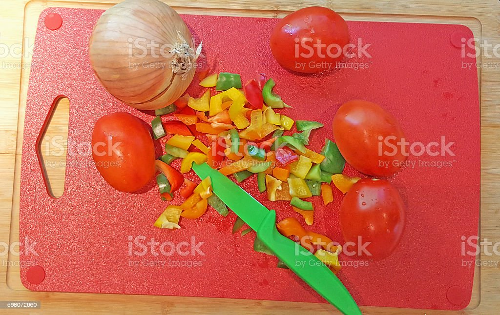 Fresh Chopped Peppers,Tomatoes And Onion stock photo