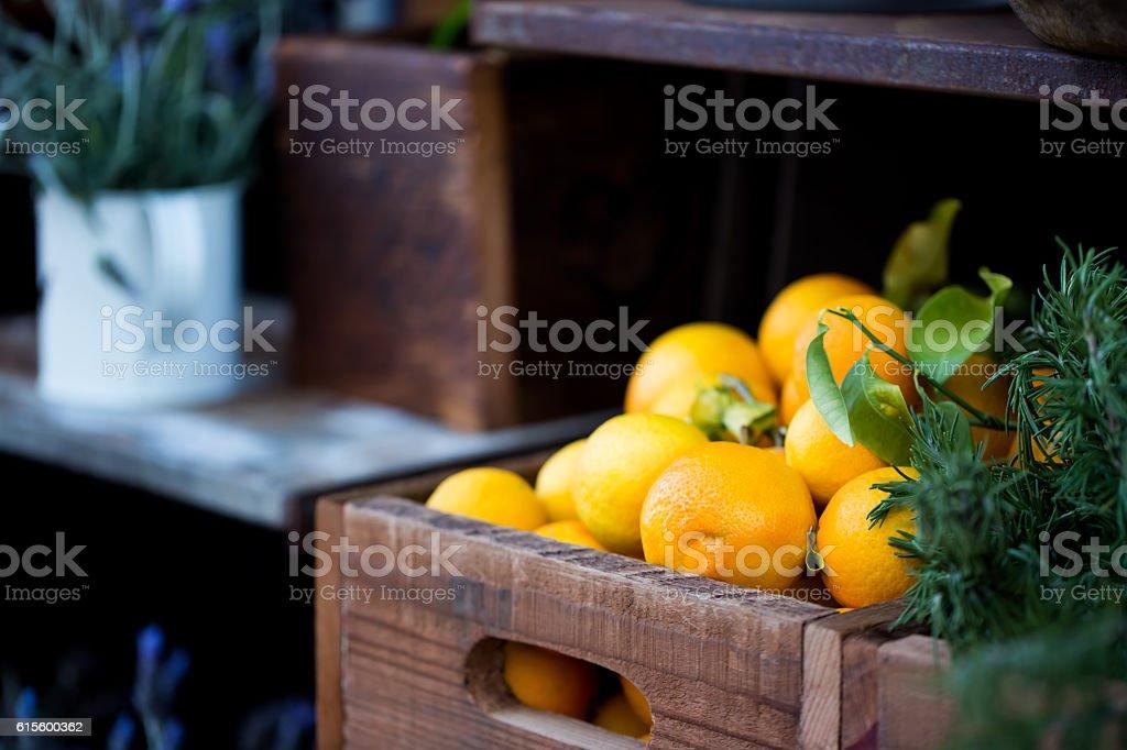 Fresh citrus in the box stock photo