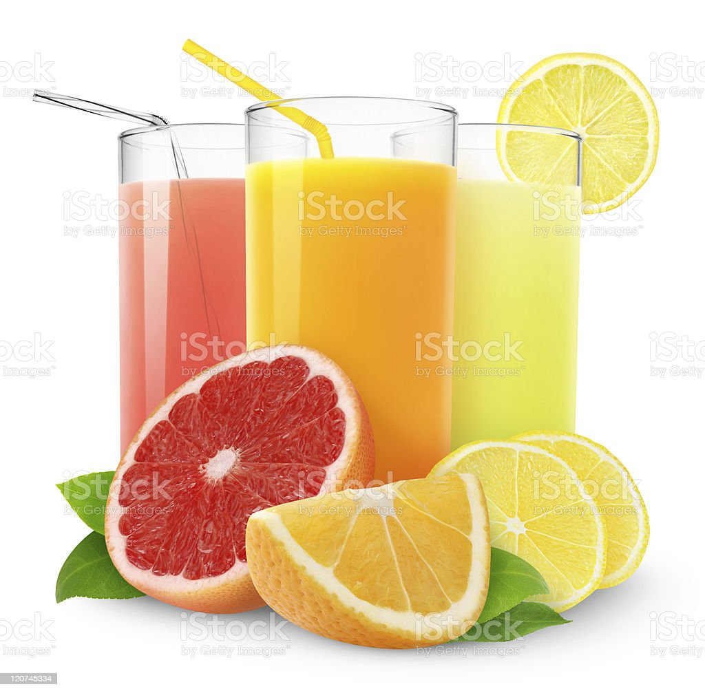 Fresh citrus juices stock photo