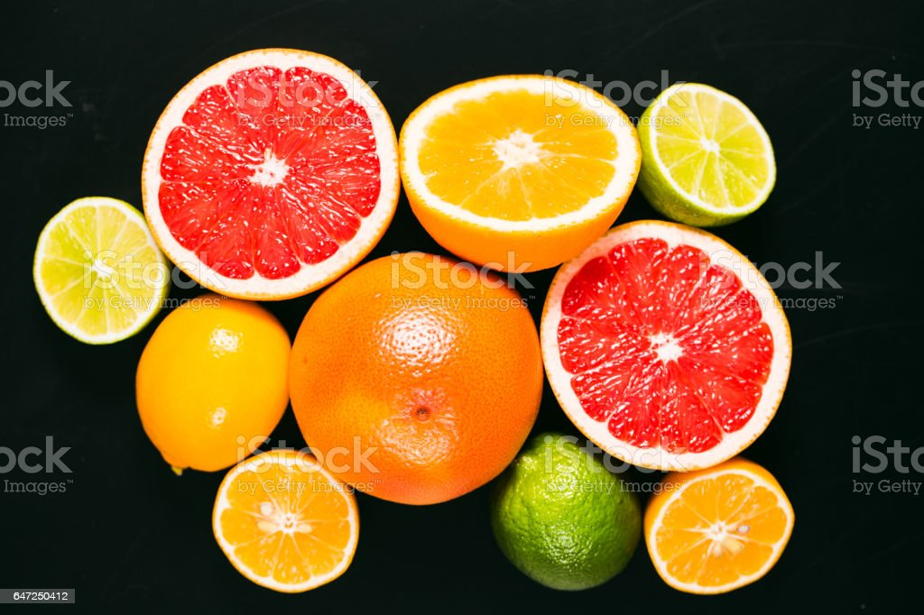 Fresh citrus stihli. Lemons, limes, grapefruit and orange stock photo