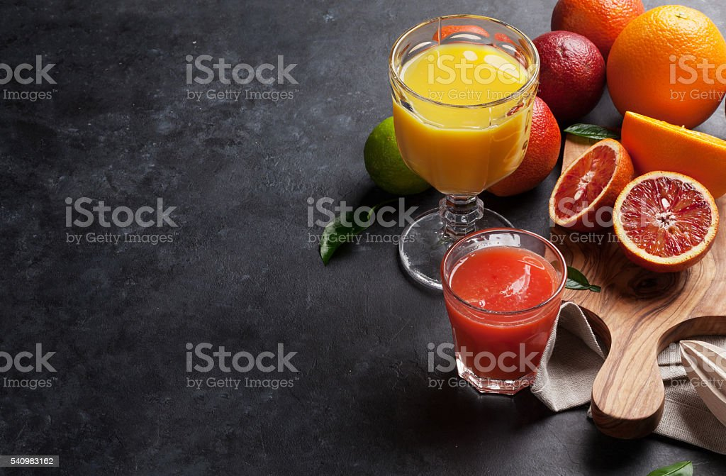 Fresh citruses and juice stock photo