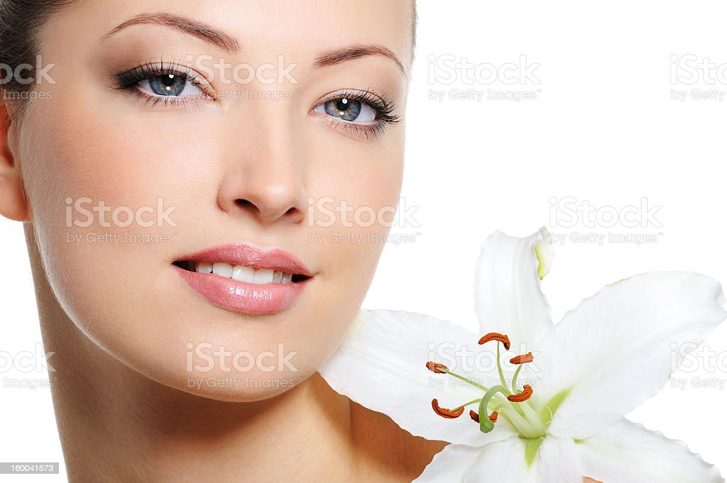Fresh clear healthy skin on the face of beautiful woman royalty-free stock photo