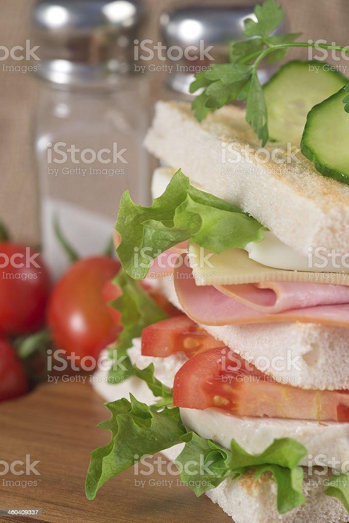 Fresh club sandwich in kitchen setting royalty-free stock photo