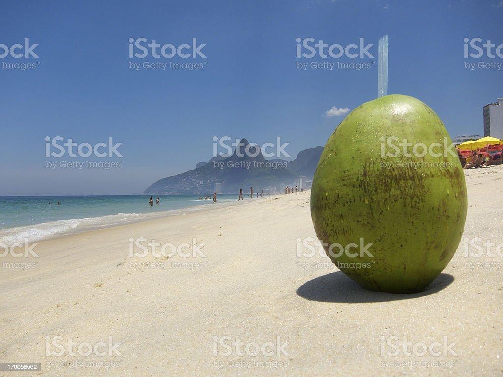 Fresh Coco Gelado Drinking Coconut Ipanema Beach Rio de Janeiro stock photo