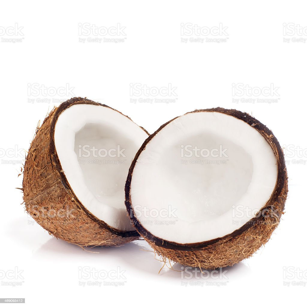 Fresh coconut on white isolated background stock photo
