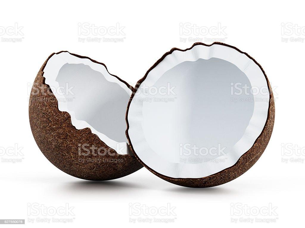 Fresh coconut slices stock photo