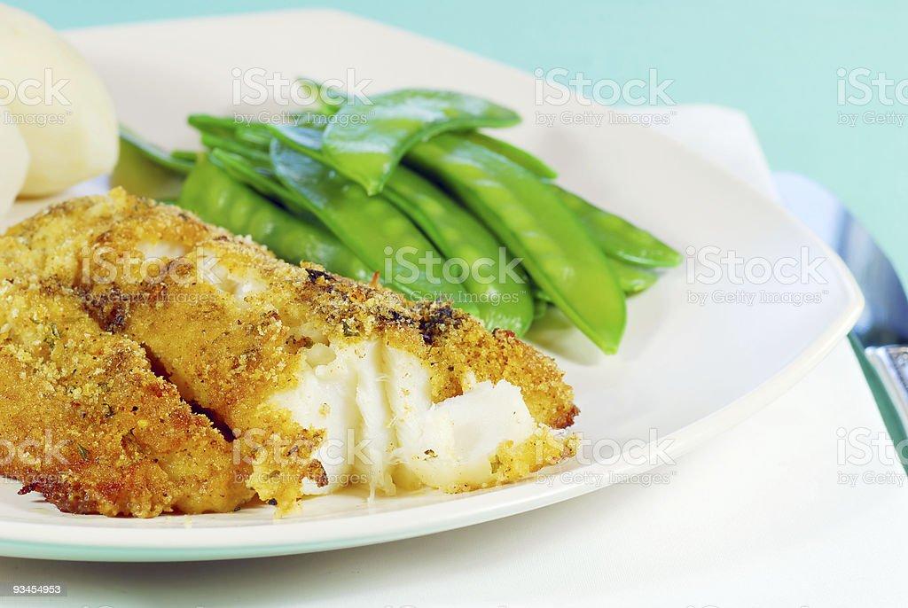 Fresh Cod with snow peas stock photo
