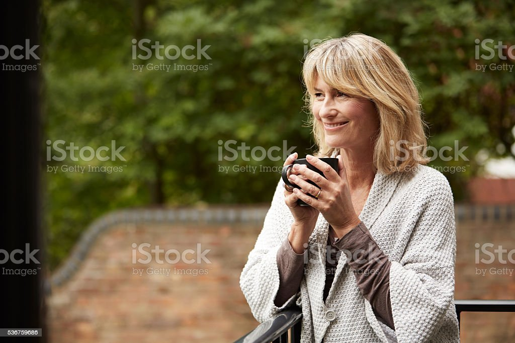 Fresh coffee and air is good for the soul stock photo