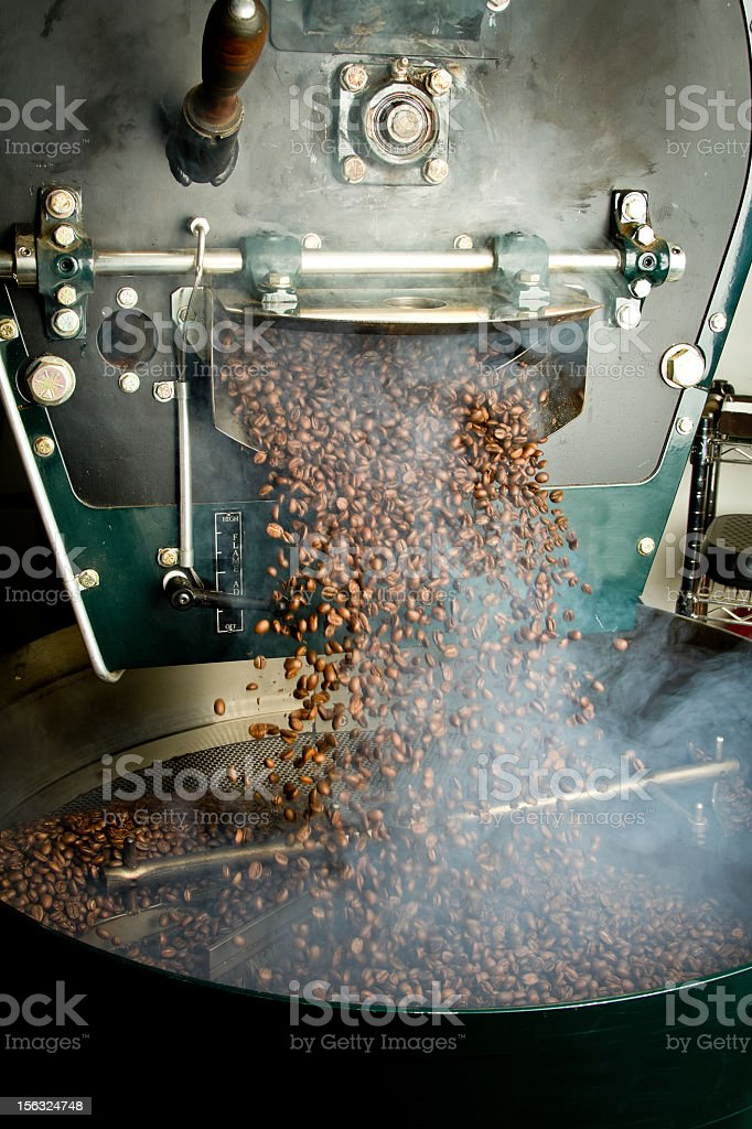 Fresh Coffee Beans and Roaster stock photo