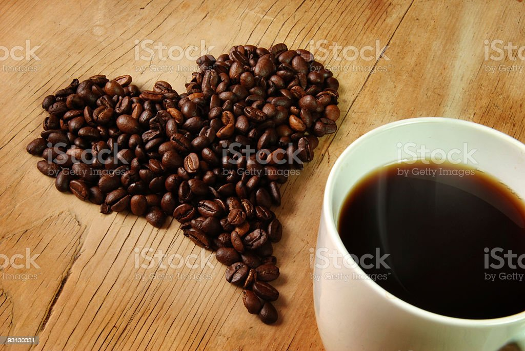 Fresh Coffee beans Heart royalty-free stock photo