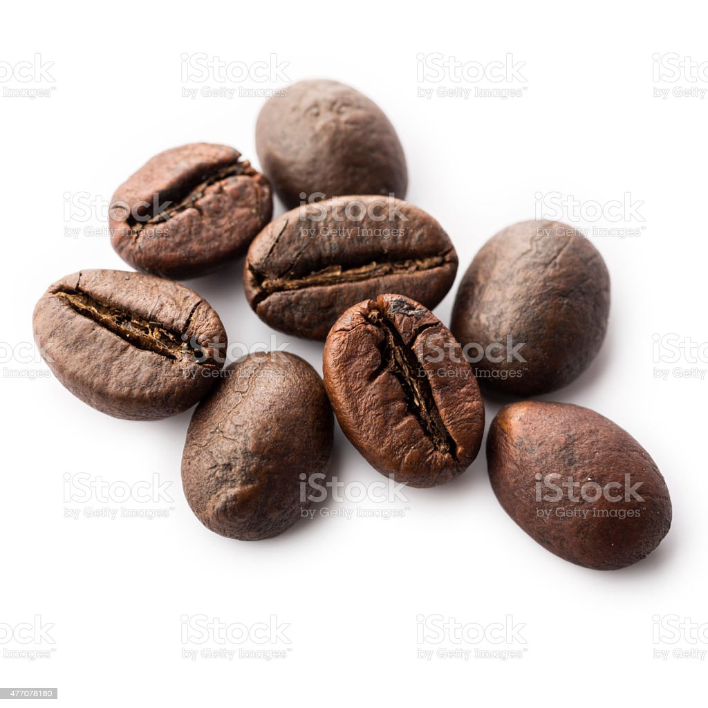 Fresh coffee beans isolated on white stock photo