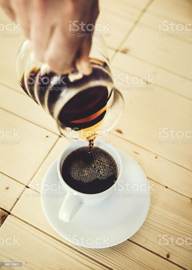 Fresh Coffee Being Poured royalty-free stock photo
