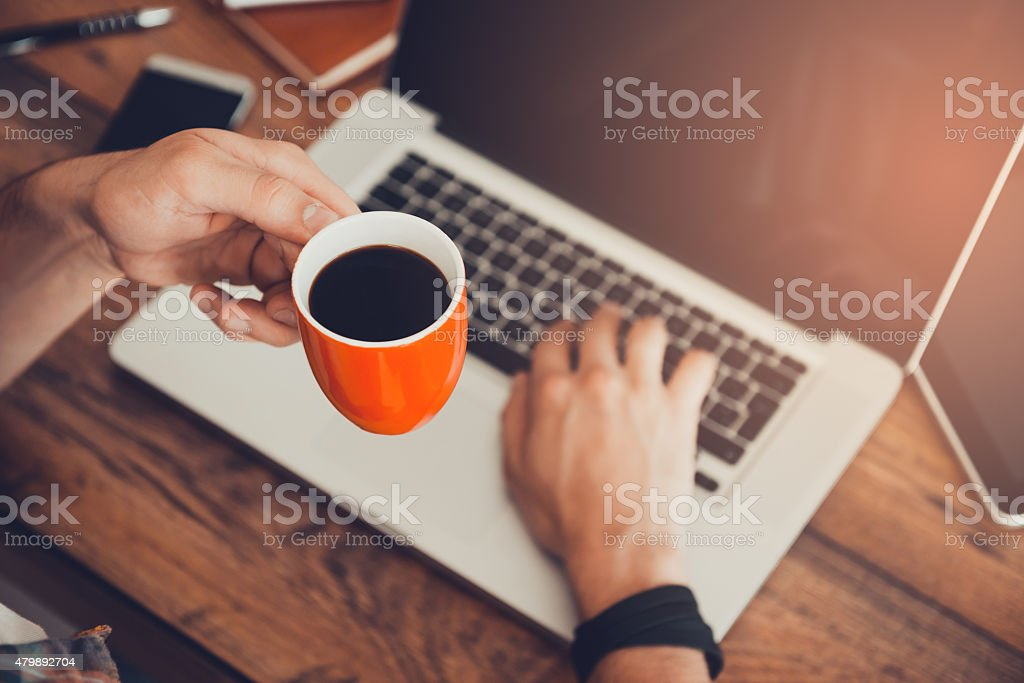 Fresh coffee for great ideas. stock photo