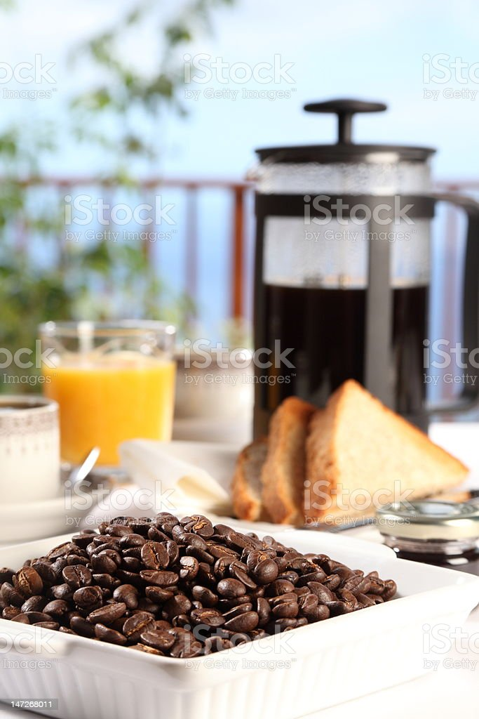 Fresh coffee on a sunny morning royalty-free stock photo