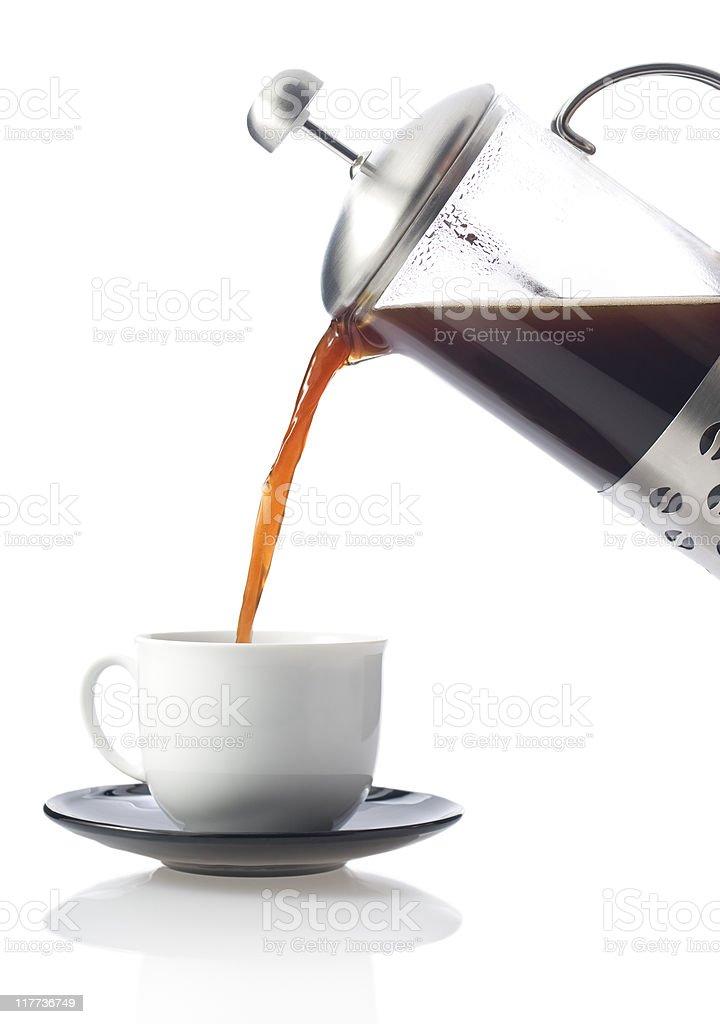 Fresh coffee poured on white. royalty-free stock photo