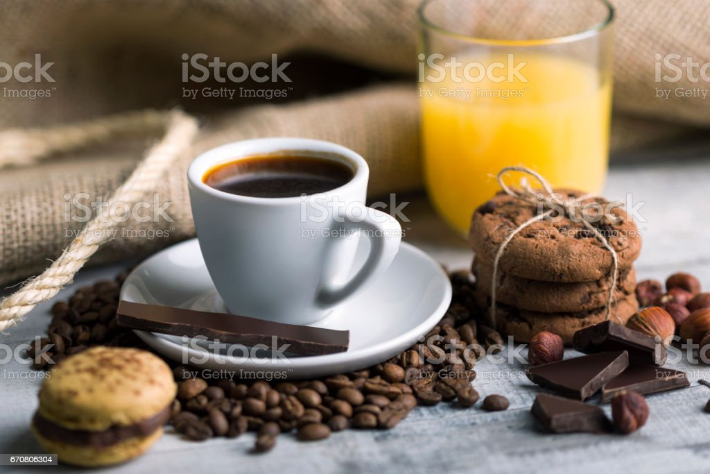 Fresh coffee with cookies stock photo