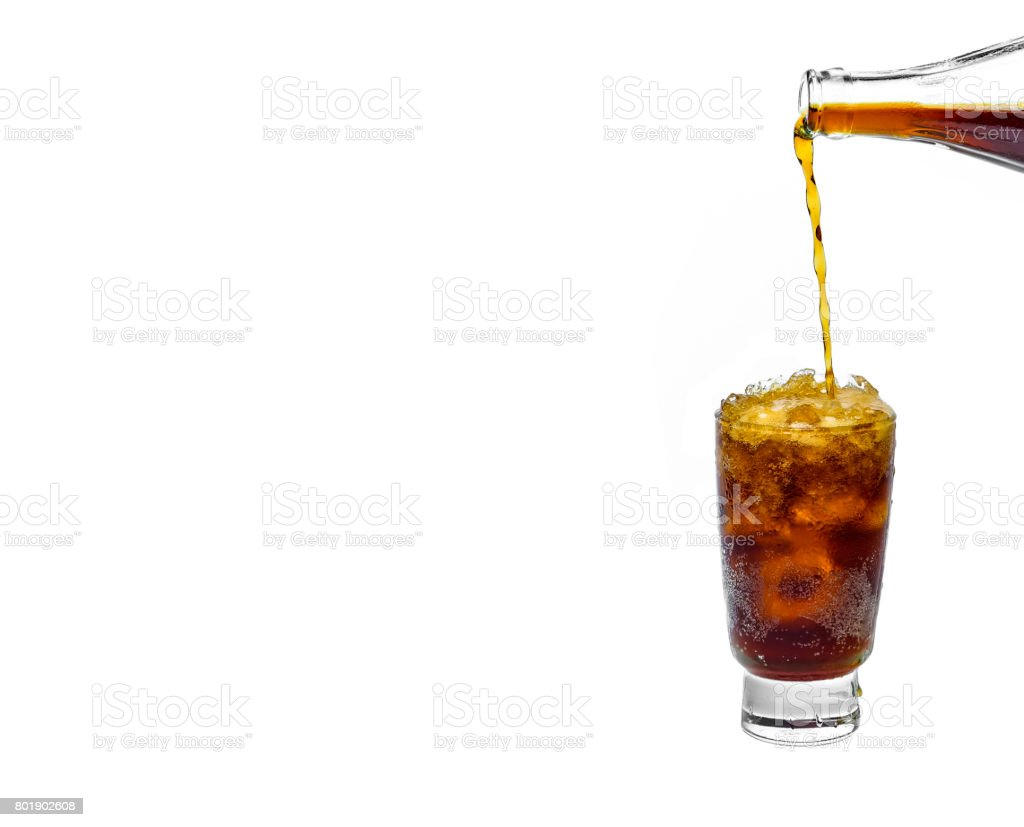 fresh cola in glass on white background stock photo