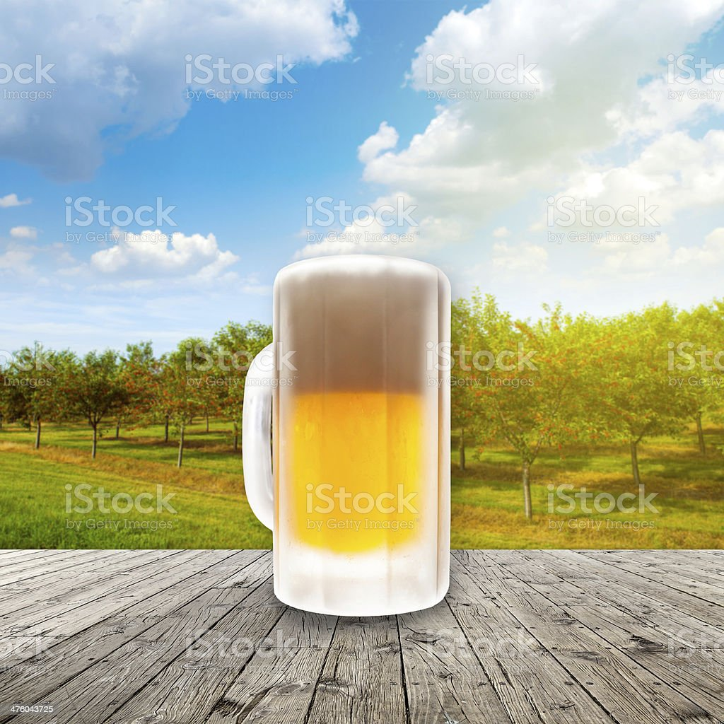 Fresh cold beer given in chilled pint stock photo