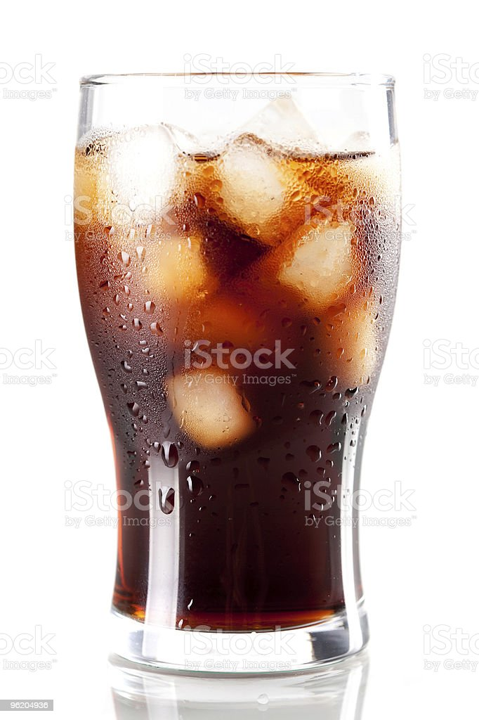 Fresh Cold Cola with ice stock photo