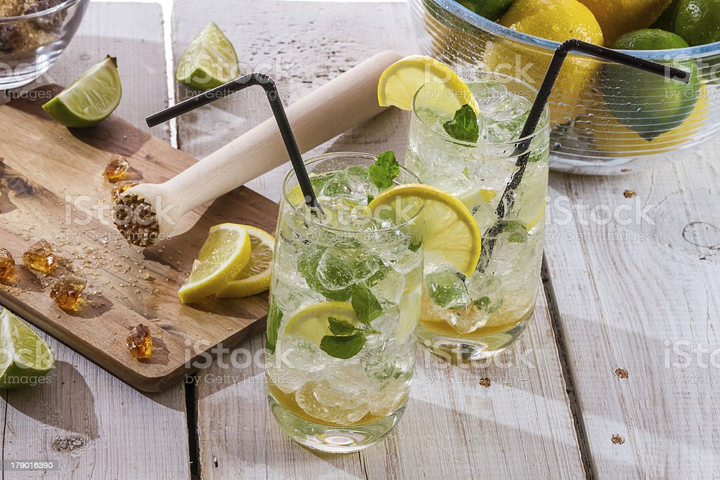 Fresh cold drink lemon with sugar royalty-free stock photo