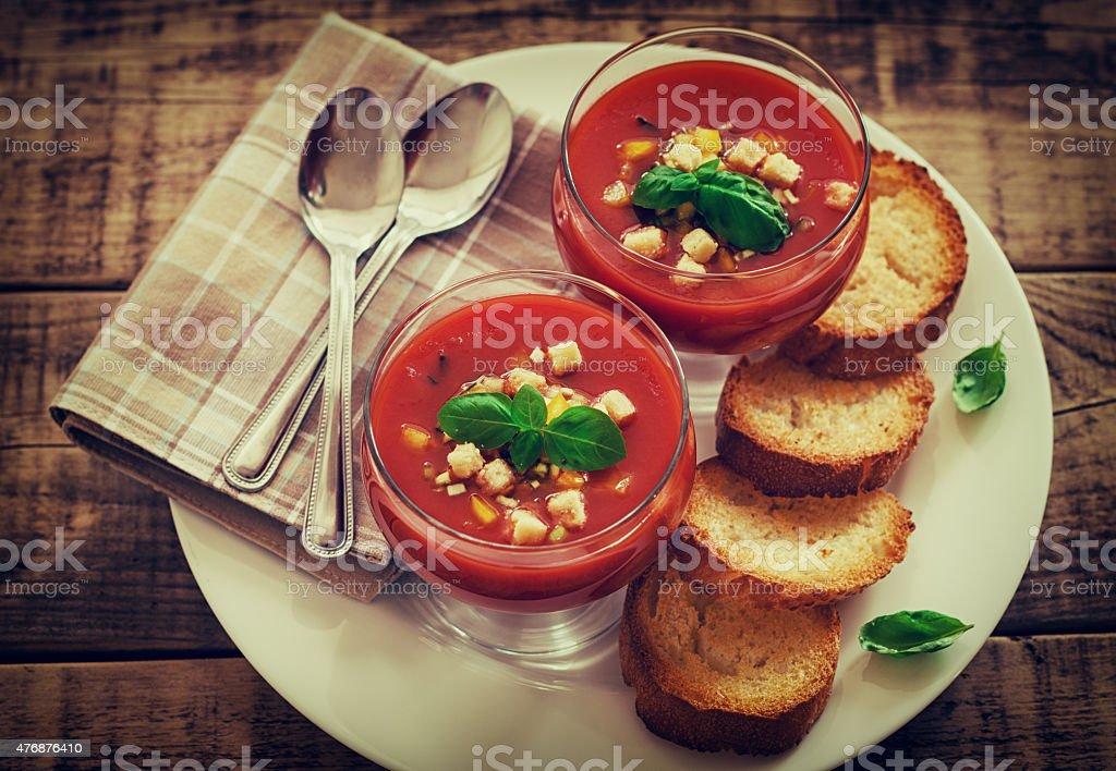 Fresh Cold Gazpacho Soup stock photo
