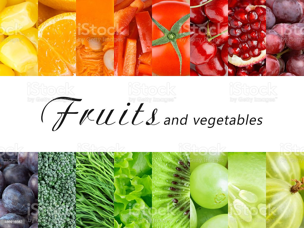 Fresh color fruits and vegetables stock photo