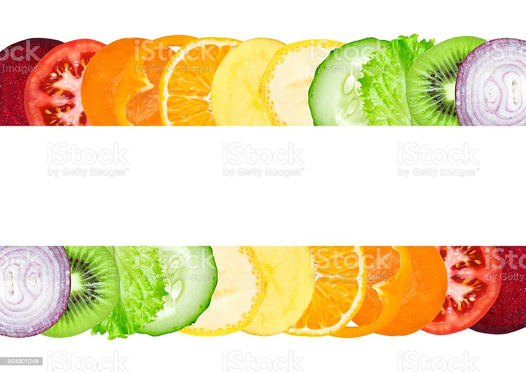 Fresh color slices of fruit and vegetable stock photo
