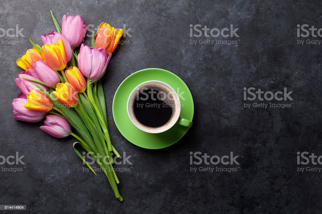 Fresh colorful tulip flowers and coffee stock photo