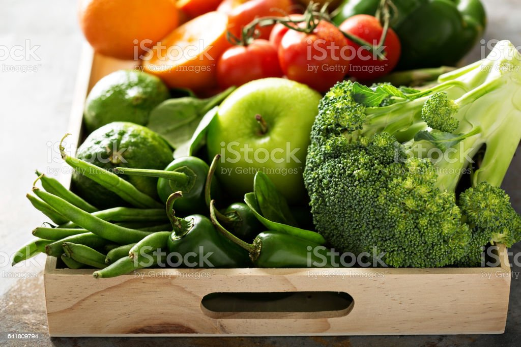 Fresh colorful vegetables and fruits stock photo