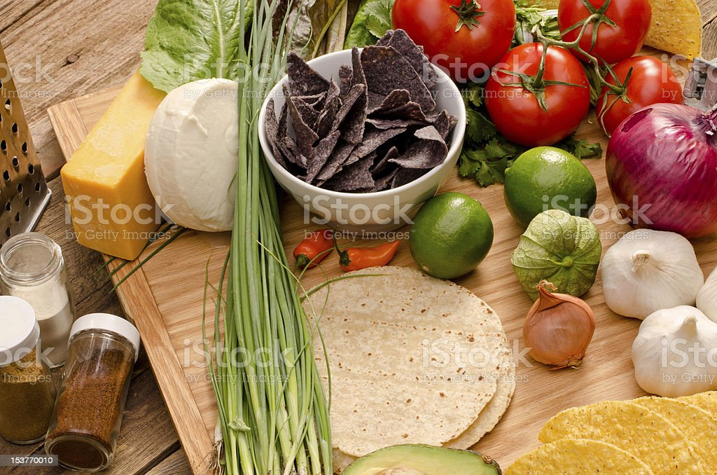 Fresh colorful vegetables and ingredients for tacos stock photo