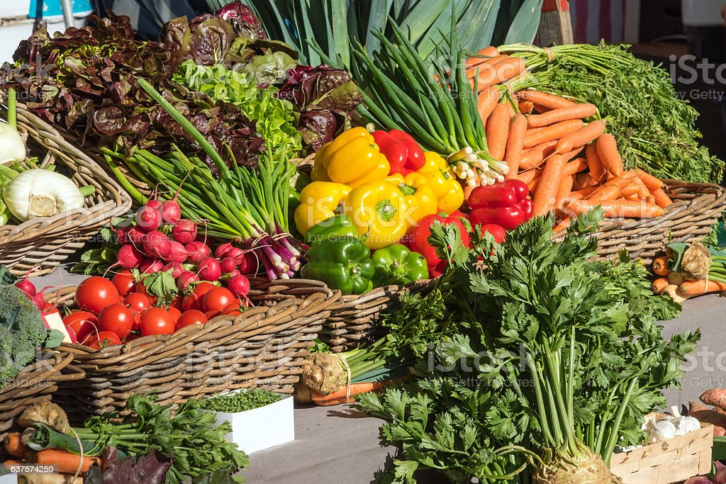 Fresh colorful vegetables at a market stock photo