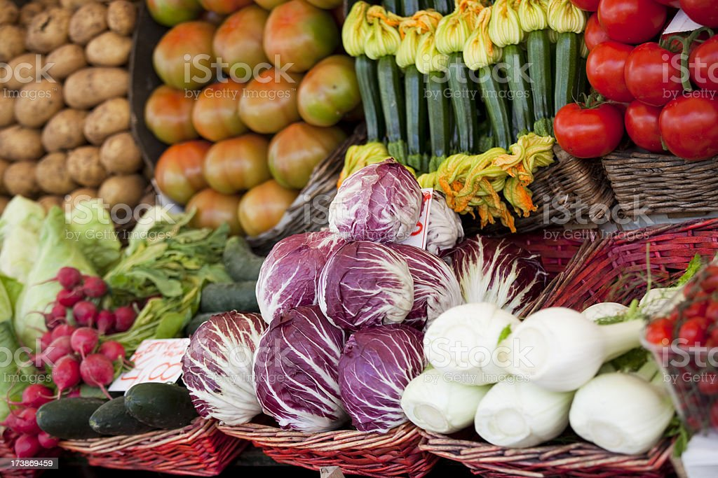 Fresh colourful vegetables in a stall in Venice, Italy.  royalty-free stock photo