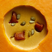 Fresh cooked pumpkin soup