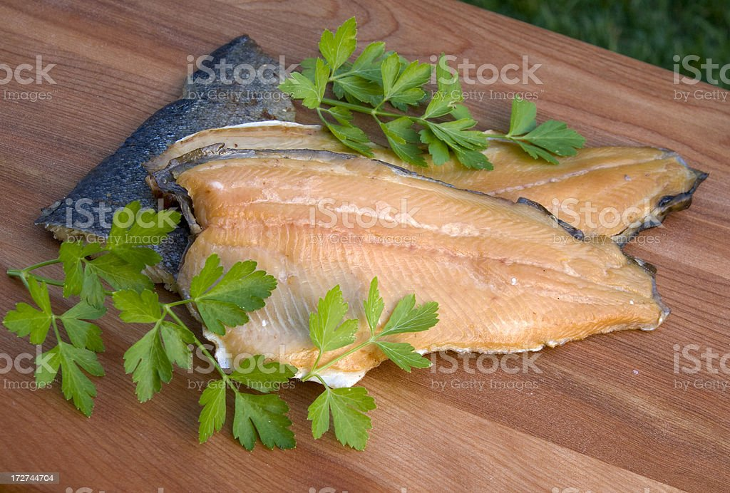 Fresh Cooked Seafood Fish Fillet, Cold Smoked Trout Meat stock photo