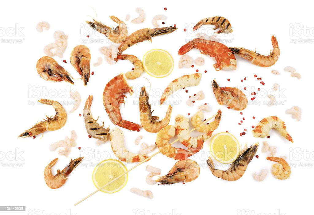 Fresh cooked shrimps composition with lemon. stock photo