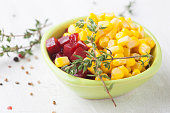 Fresh corn and beet root salad with thyme