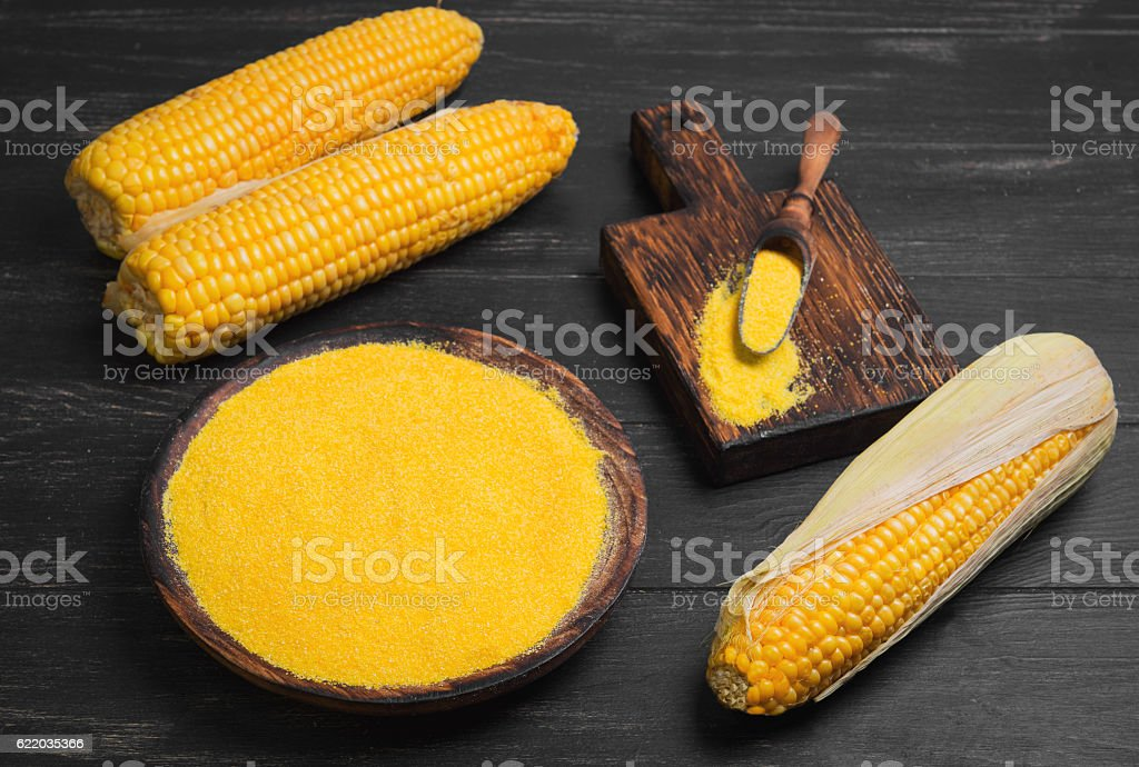 Fresh Corn and  grits polenta stock photo