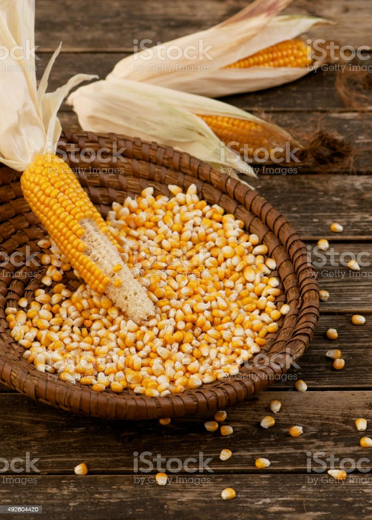 Fresh corn on cobs in wicker basket on wooden table. stock photo