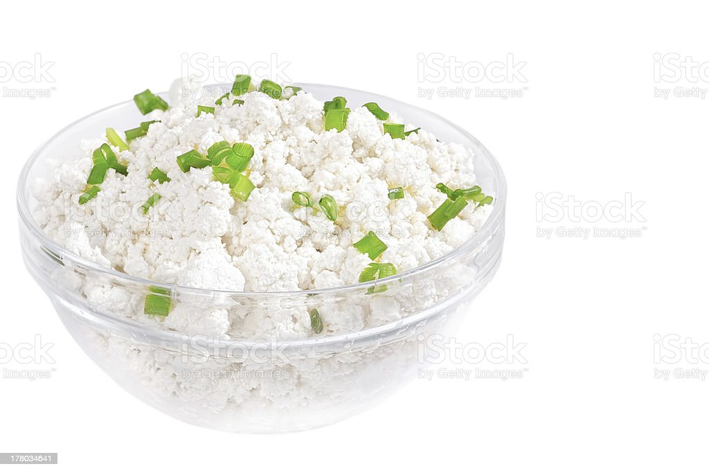 Fresh cottage cheese (curd) in glass bow stock photo