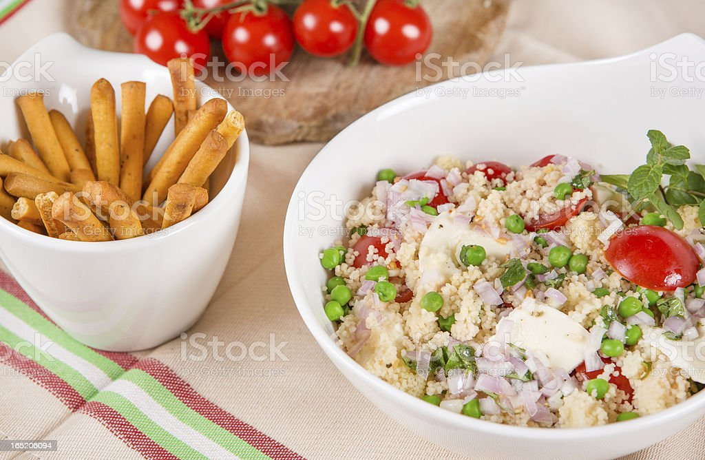 fresh couscous salad with vegetables royalty-free stock photo