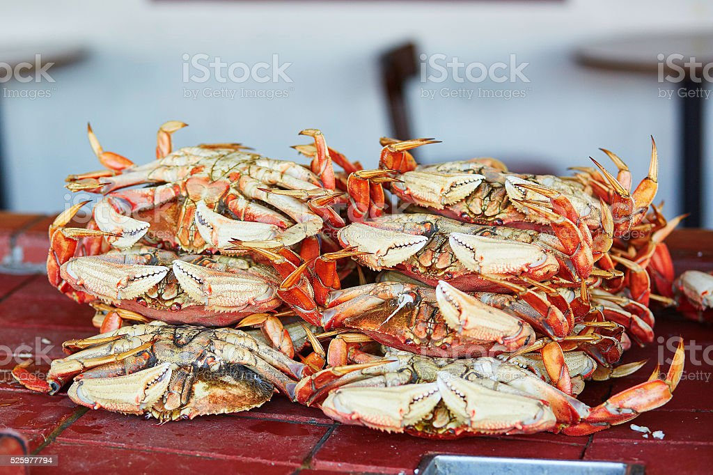 Fresh crabs in one of seafood restaurants in San Francisco stock photo