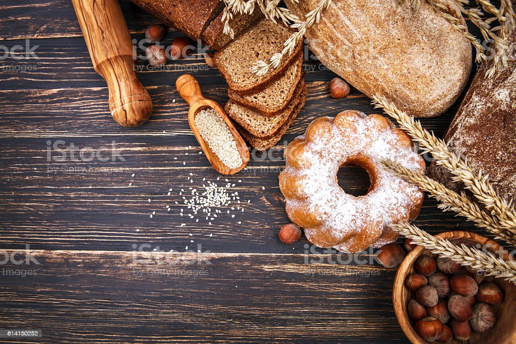 Fresh crispy breads baking of loaf and stock photo