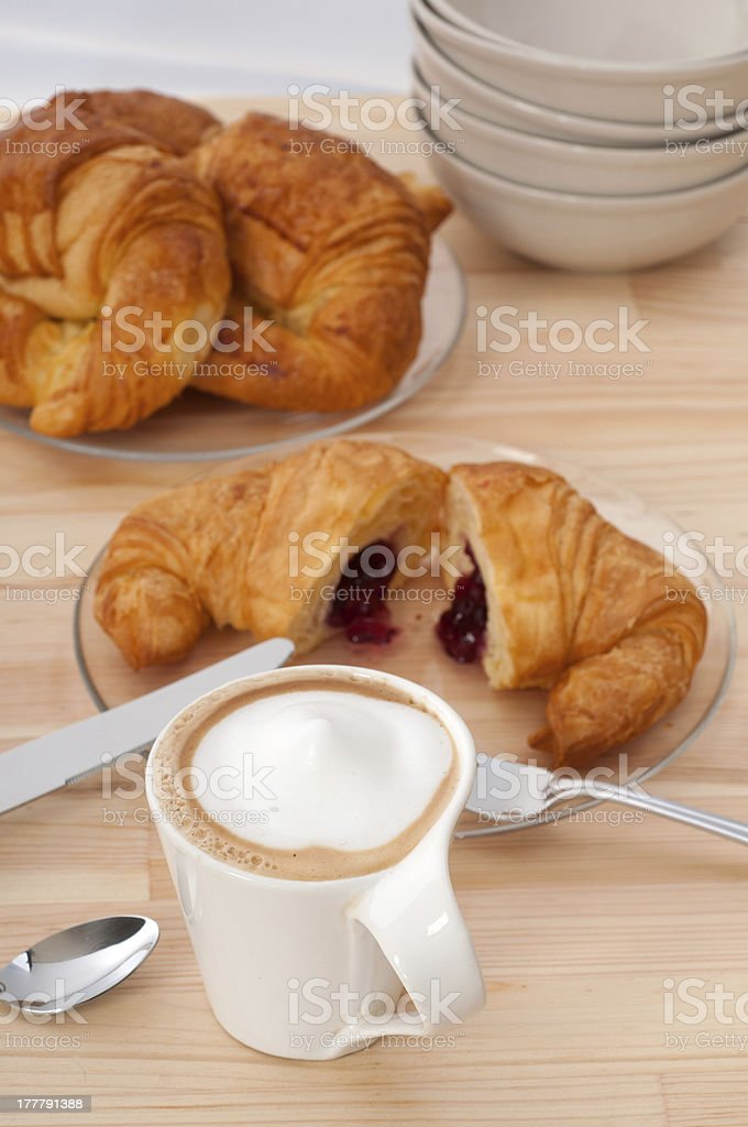 fresh croissant french brioche and coffee royalty-free stock photo