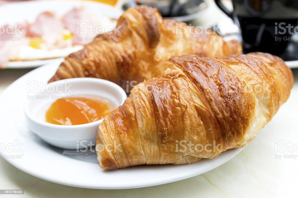 fresh croissant on table ,Delicious! royalty-free stock photo