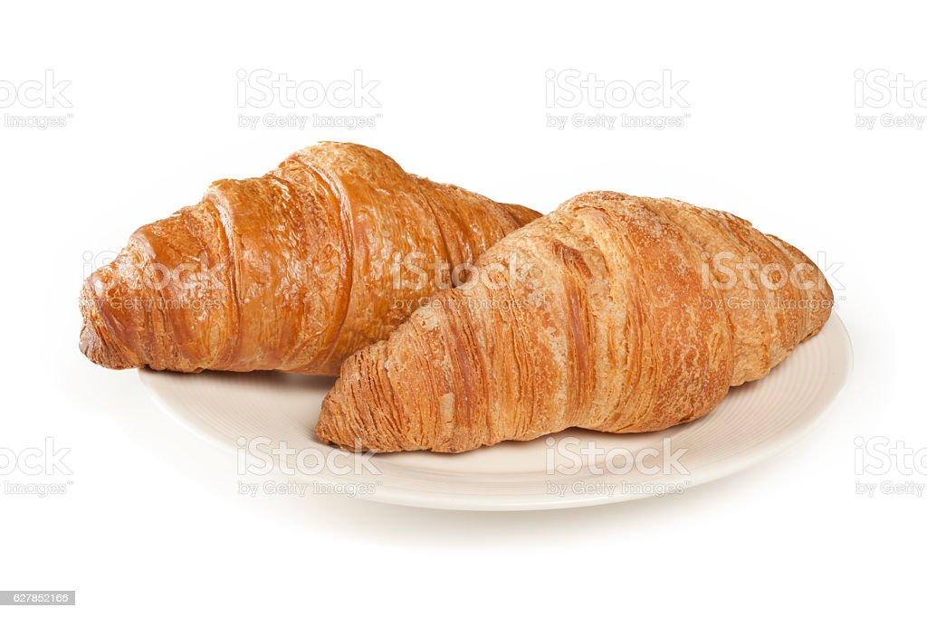 Fresh croissant on white background stock photo