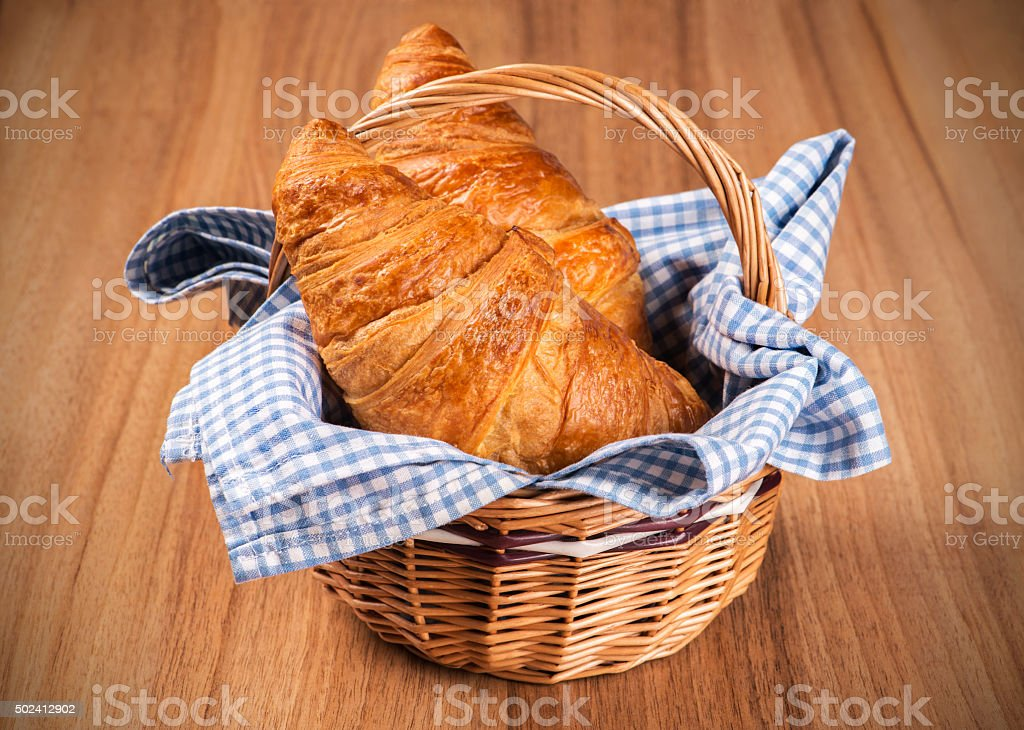 Fresh Croissants in a basket stock photo