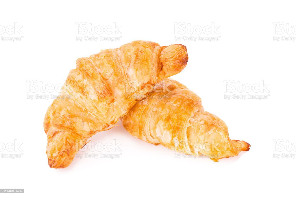 Fresh croissants on white background stock photo